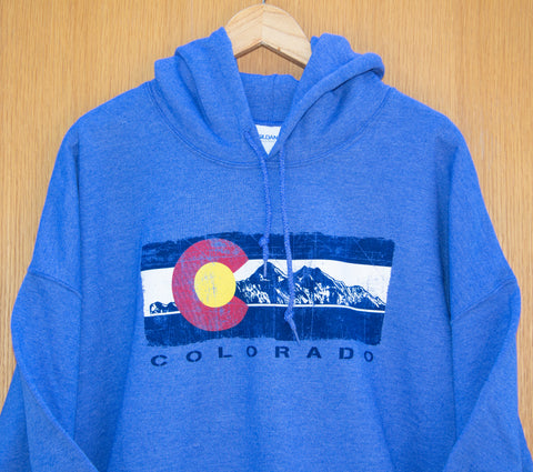 Classic Pullover Hoodie with Colorado Logo & Mountains Design In Blue