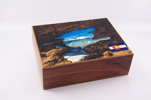 Colorado scene of Garden of the Gods and Pikes Peak cedar box (Small)