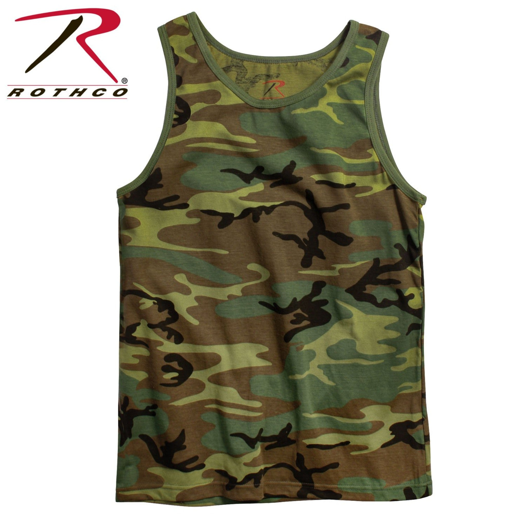 Men's brown, green and black camo tank top from Rothco.