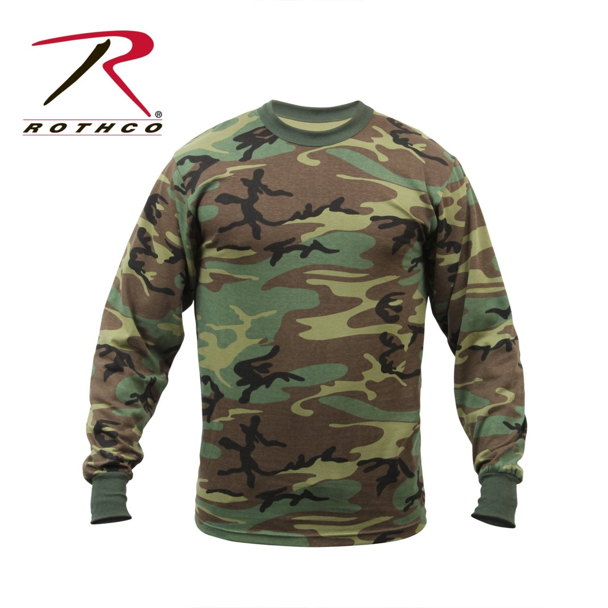 Brown, dark green, and light green camoflage long sleeve t-shirt from Rothco.