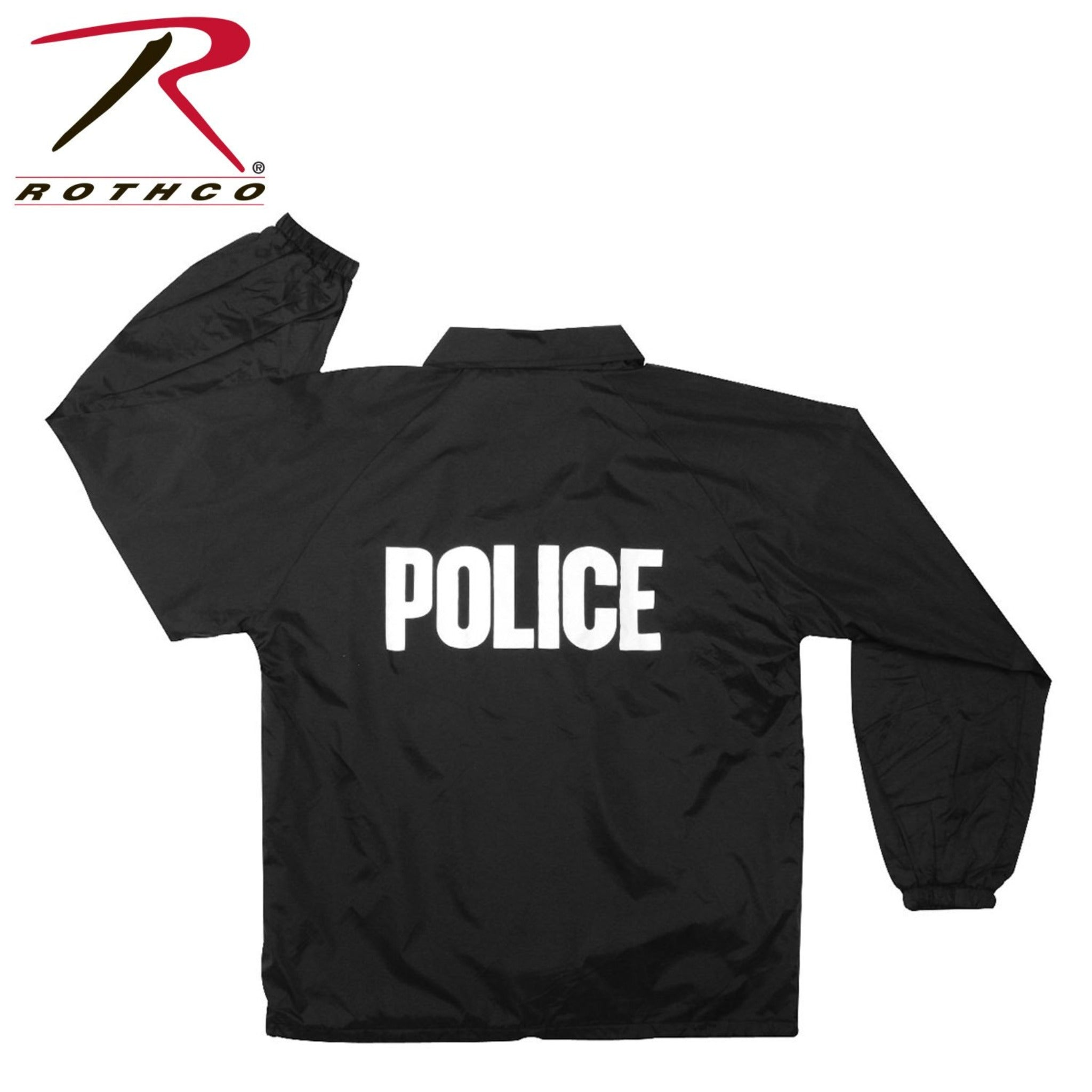 "Back of lined jacket in black with ""Police"" print lettering in white."