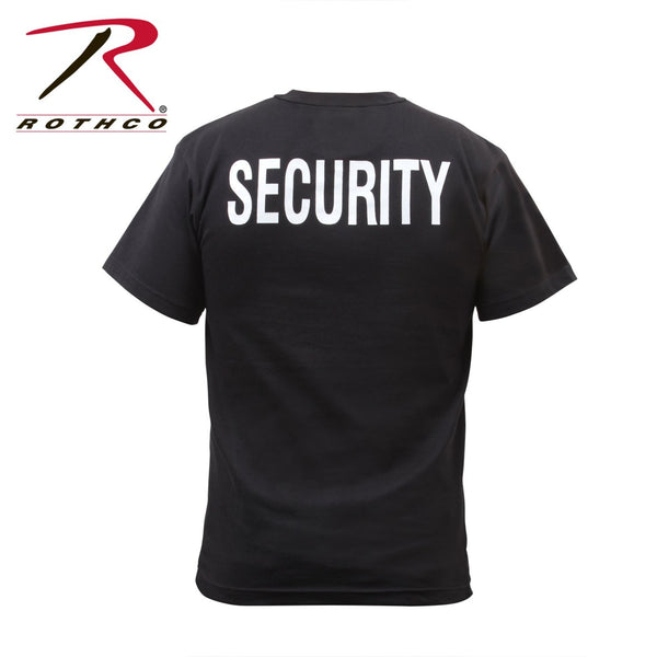 "Back of the Security T-shirt in black with ""SECURITY"" in white lettering."