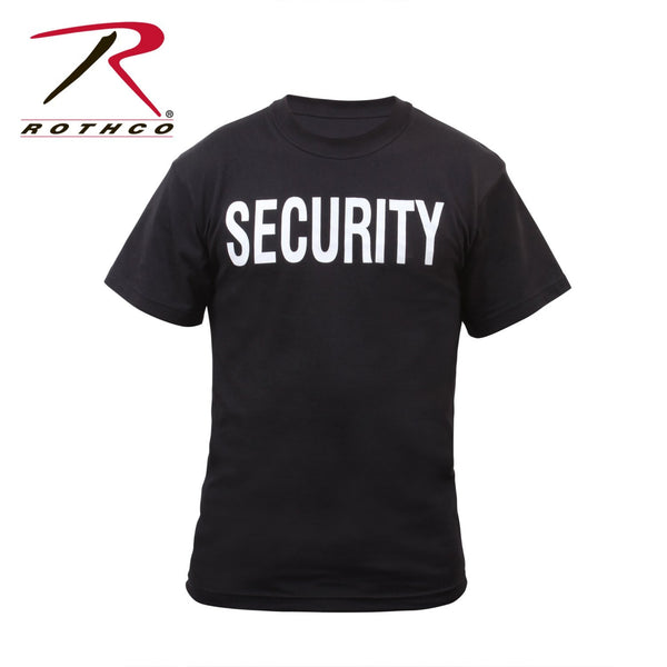 "Front of the Security T-shirt in black with ""SECURITY"" printed in white lettering."