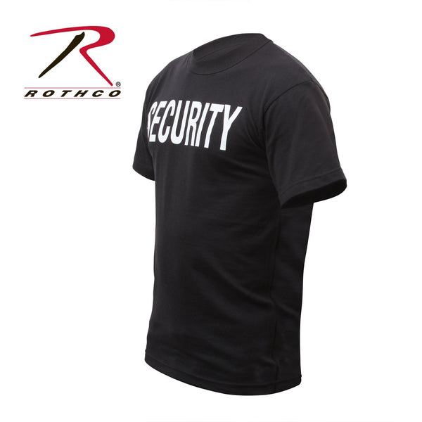 "Side of the Security T-shirt in black with ""SECURITY"" lettering."