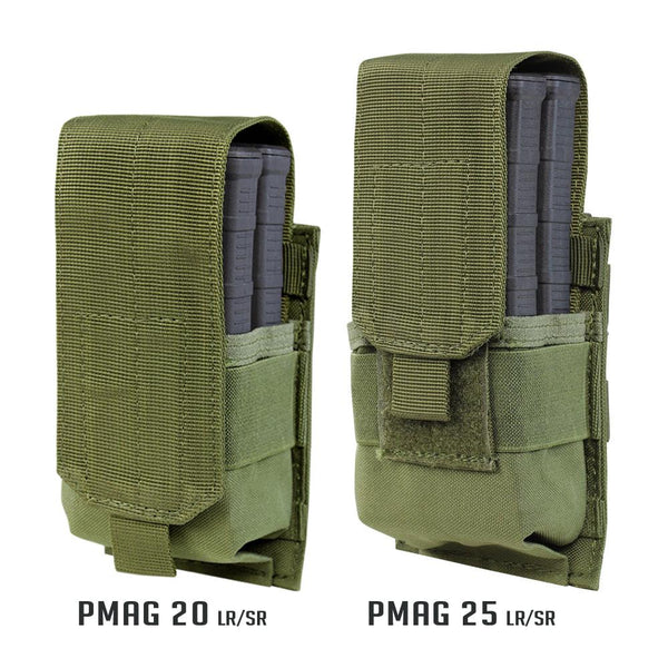 Image of the Single M14 Mag Pouch-Gen II in olive drab, showing different sizing options.
