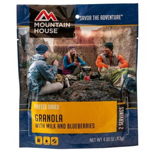 Freeze dried granola with milk and blueberries