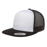 flexfit 6006w classic white front panel trucker high quality low minimum headwearhut.com