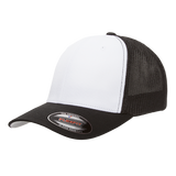 flexfit 6511w cotton twill white front panel trucker high quality low minimum headwearhut.com