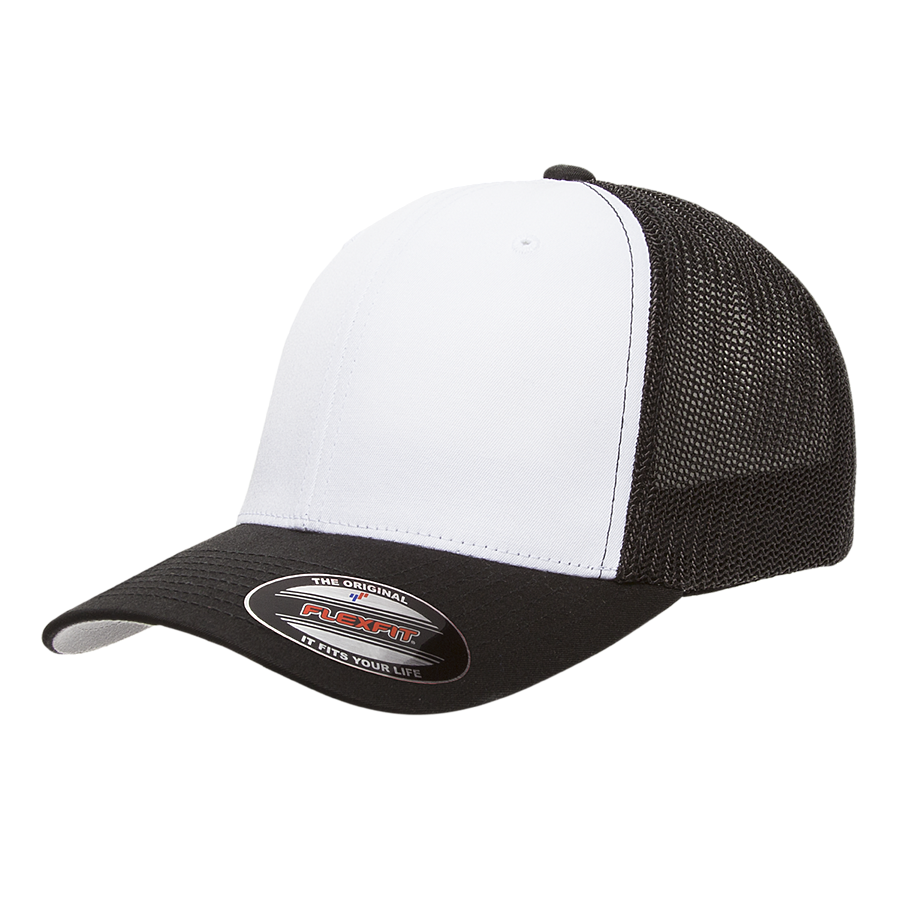 custom flexfit 6511w cotton twill white front panel trucker high quality low minimum headwearhut.com