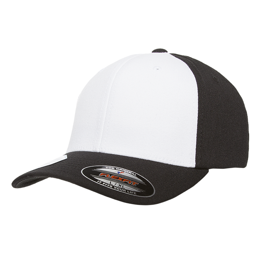 flexfit 6580w pro-formance white front panel hat high quality low minimum headwearhut.com