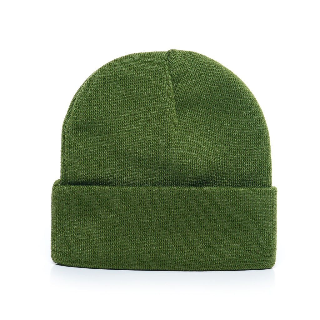 custom delusion mfg avocado green acrylic rib-knit beanie hat high quality low minimum headwearhut.com