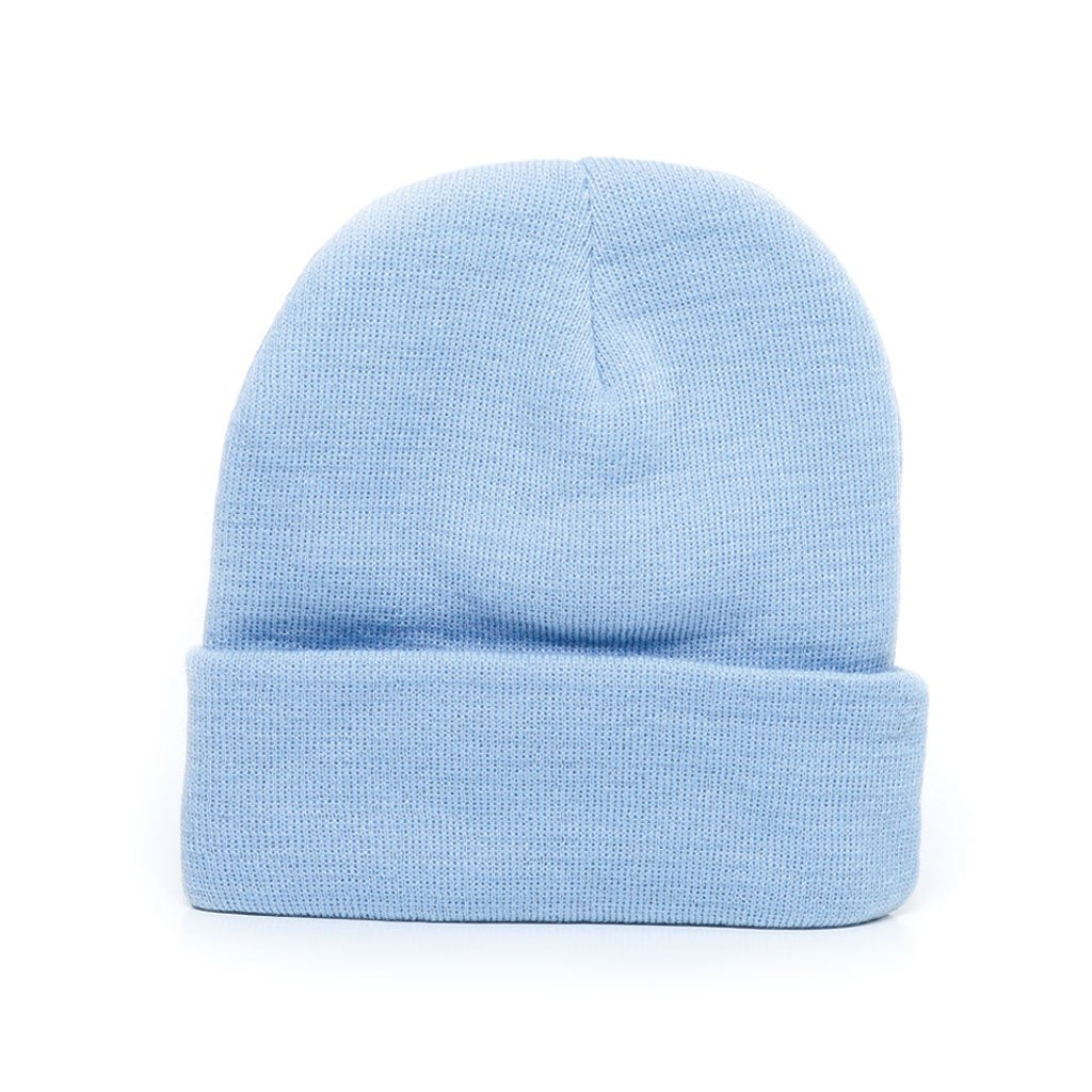 delusion mfg baby blue acrylic rib-knit beanie hat high quality low minimum headwearhut.com
