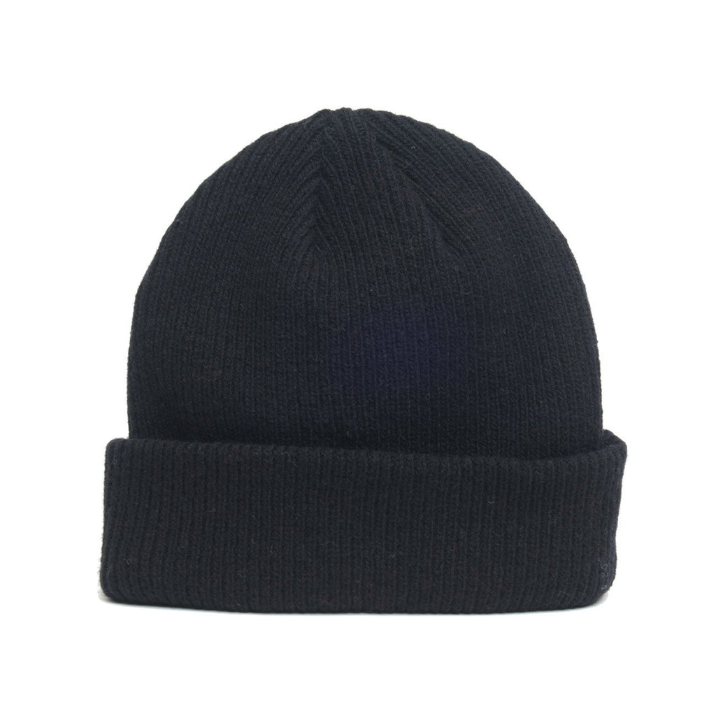 custom delusion mfg black merino wool blank beanie hat high quality low minimum headwearhut.com