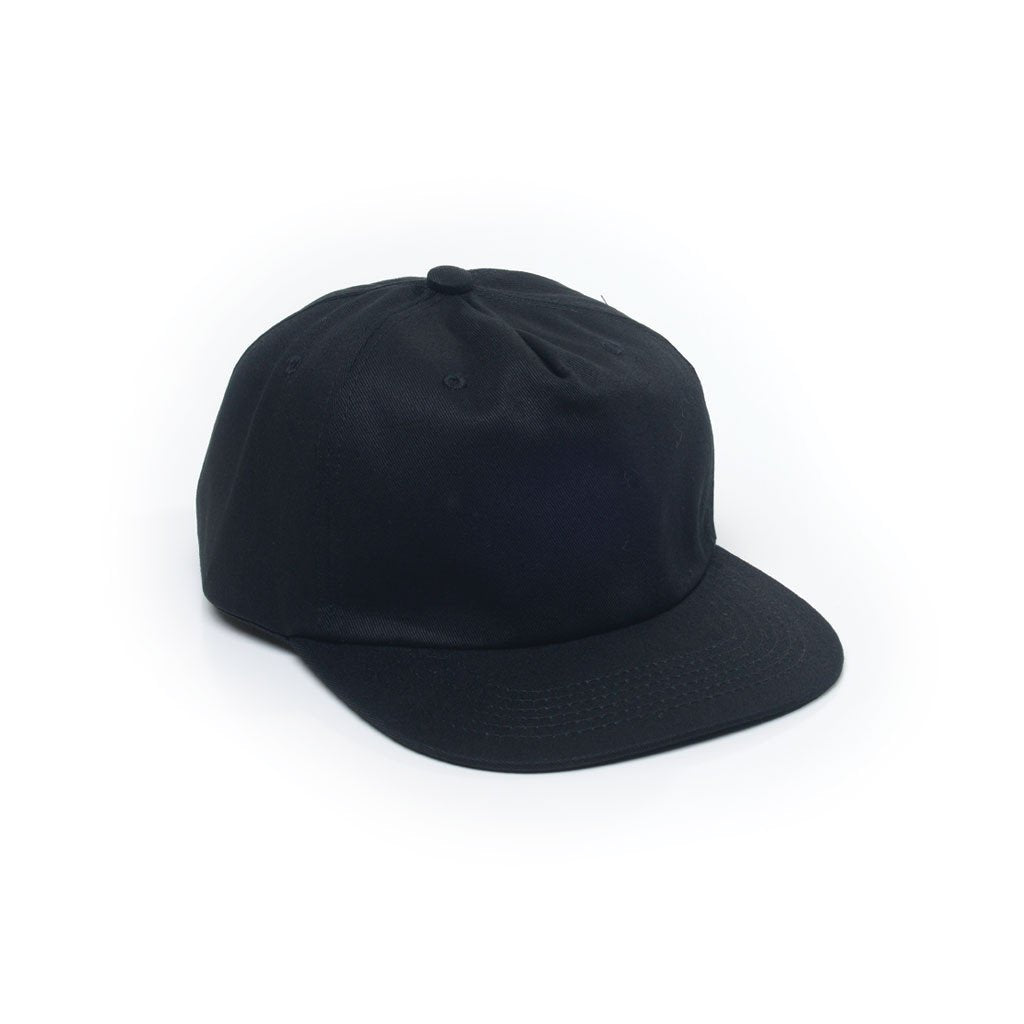 custom delusion mfg black unconstructed 5 panel strapback hat high quality low minimum headwearhut.com