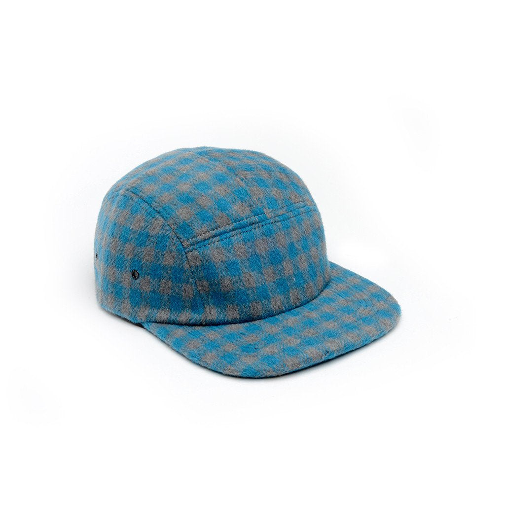 delusion mfg blue and grey checkered wool 5 panel hat high quality low minimum headwearhut.com