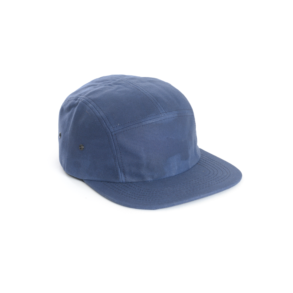 custom delusion mfg blue waxed canvas blank 5 panel hat high quality low minimum headwearhut.com