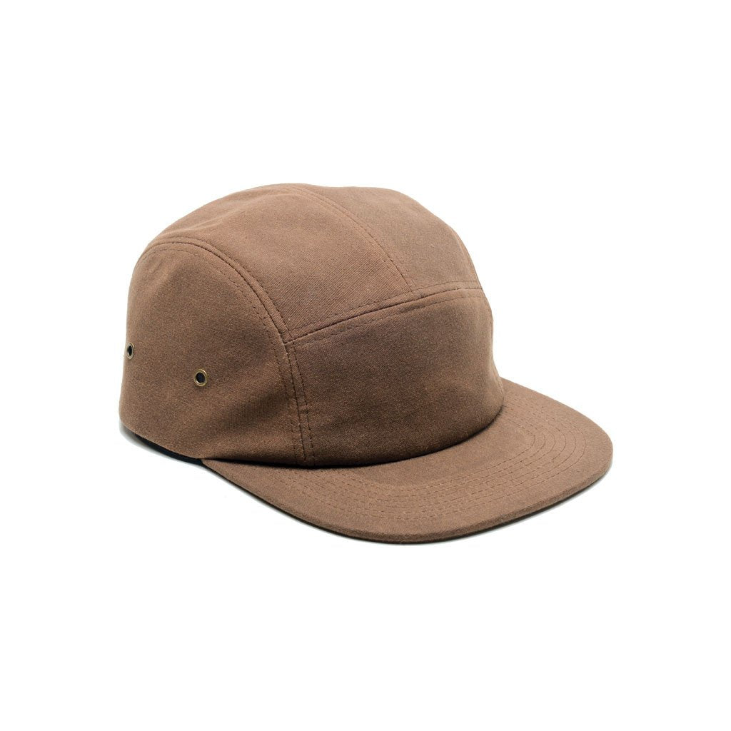 custom delusion mfg brown waxed canvas blank 5 panel hat high quality low minimum headwearhut.com