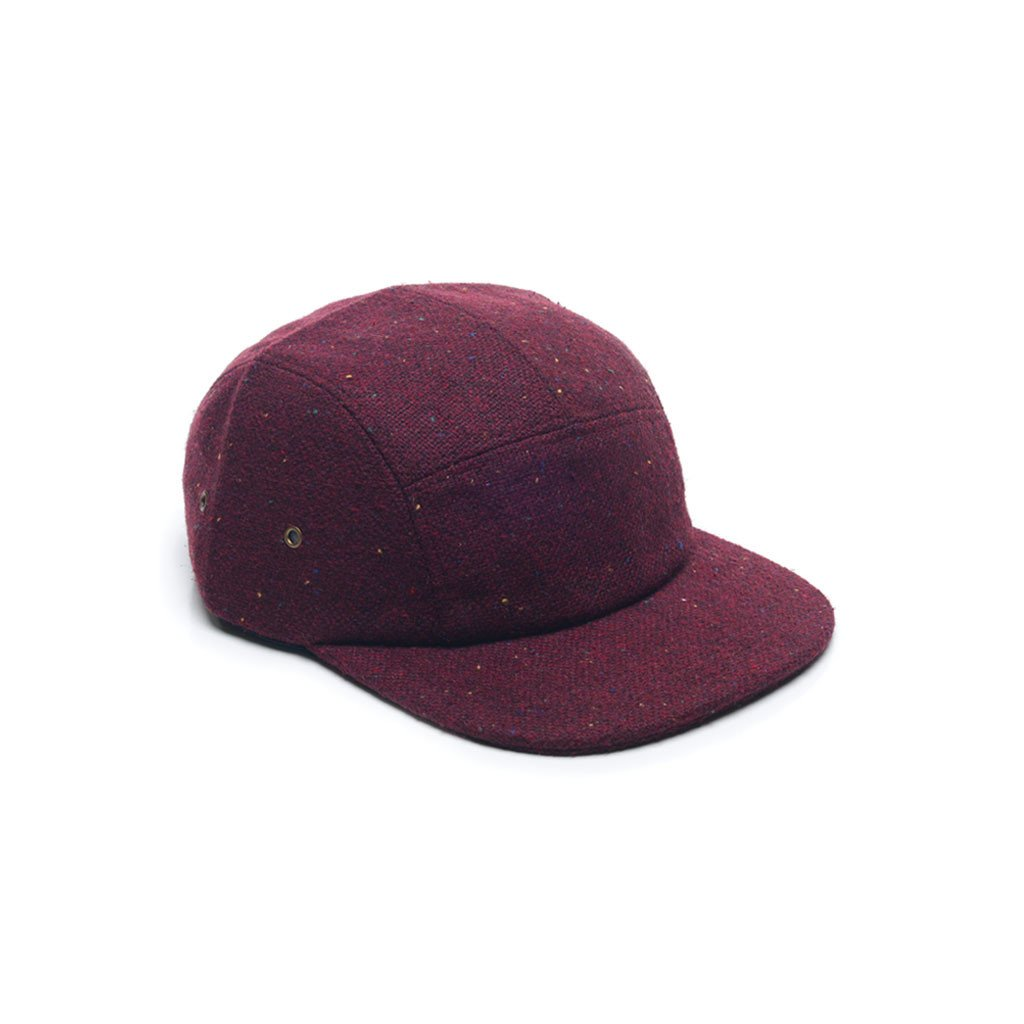 custom delusion mfg burgundy red tweed wool blank 5 panel hat high quality low minimum headwearhut.com