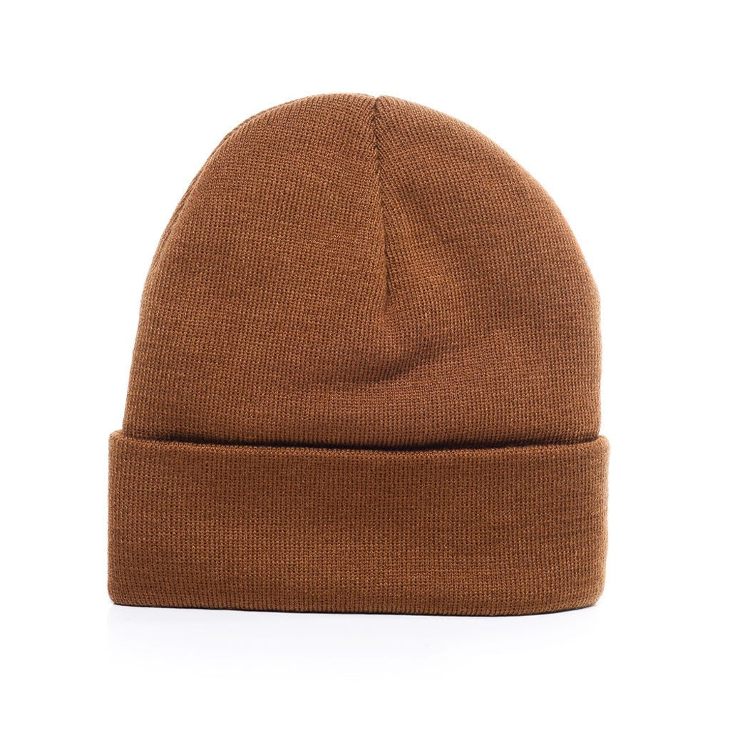 custom delusion mfg carhartt brown acrylic rib-knit beanie hat high quality low minimum headwearhut.com