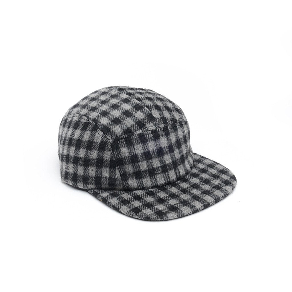 delusion mfg grey and black checkered wool 5 panel hat high quality low minimum headwearhut.com