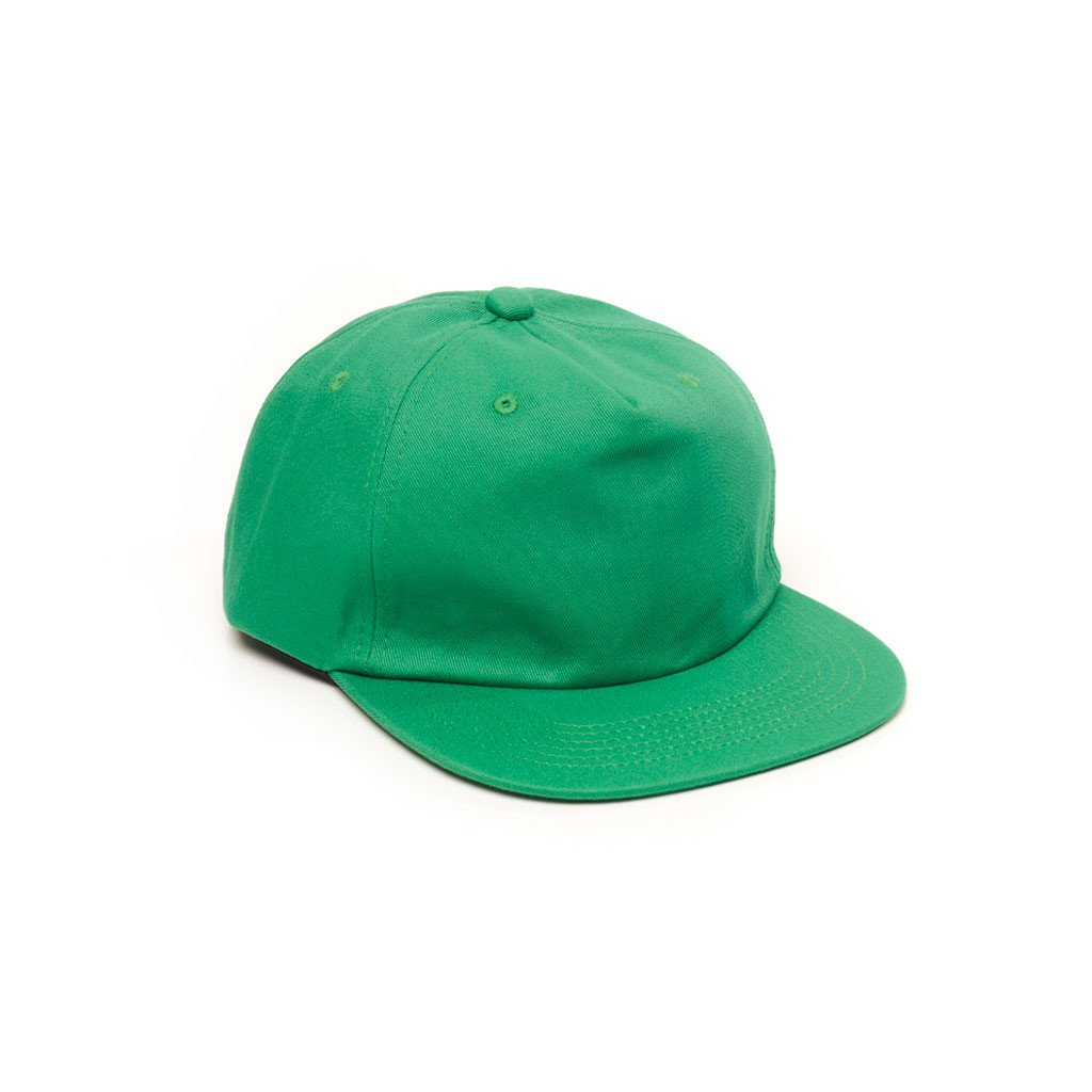 delusion mfg kelly green unconstructed 5 panel strapback hat high quality low minimum headwearhut.com