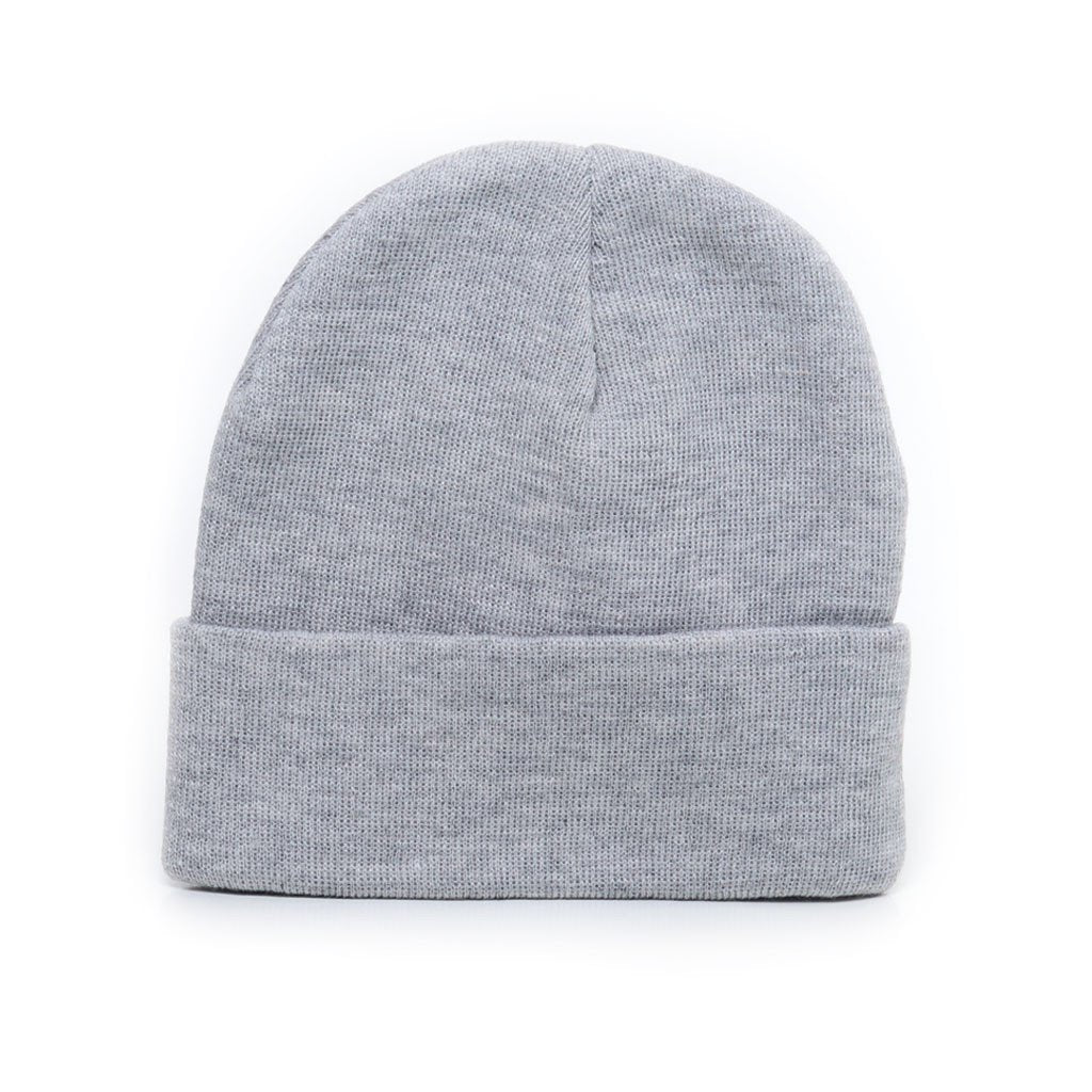 custom delusion mfg light grey acrylic rib-knit beanie hat high quality low minimum headwearhut.com