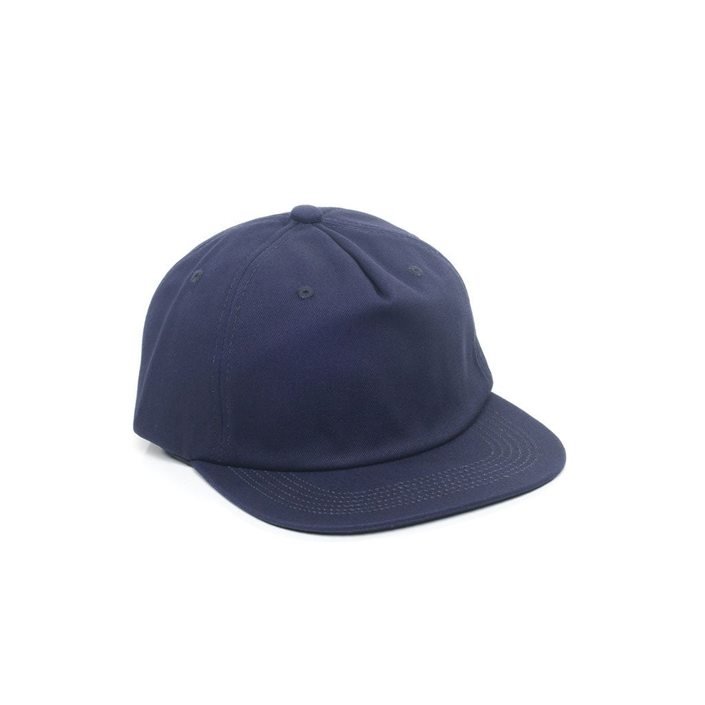 custom delusion mfg navy blue unconstructed 5 panel strapback hat high quality low minimum headwearhut.com