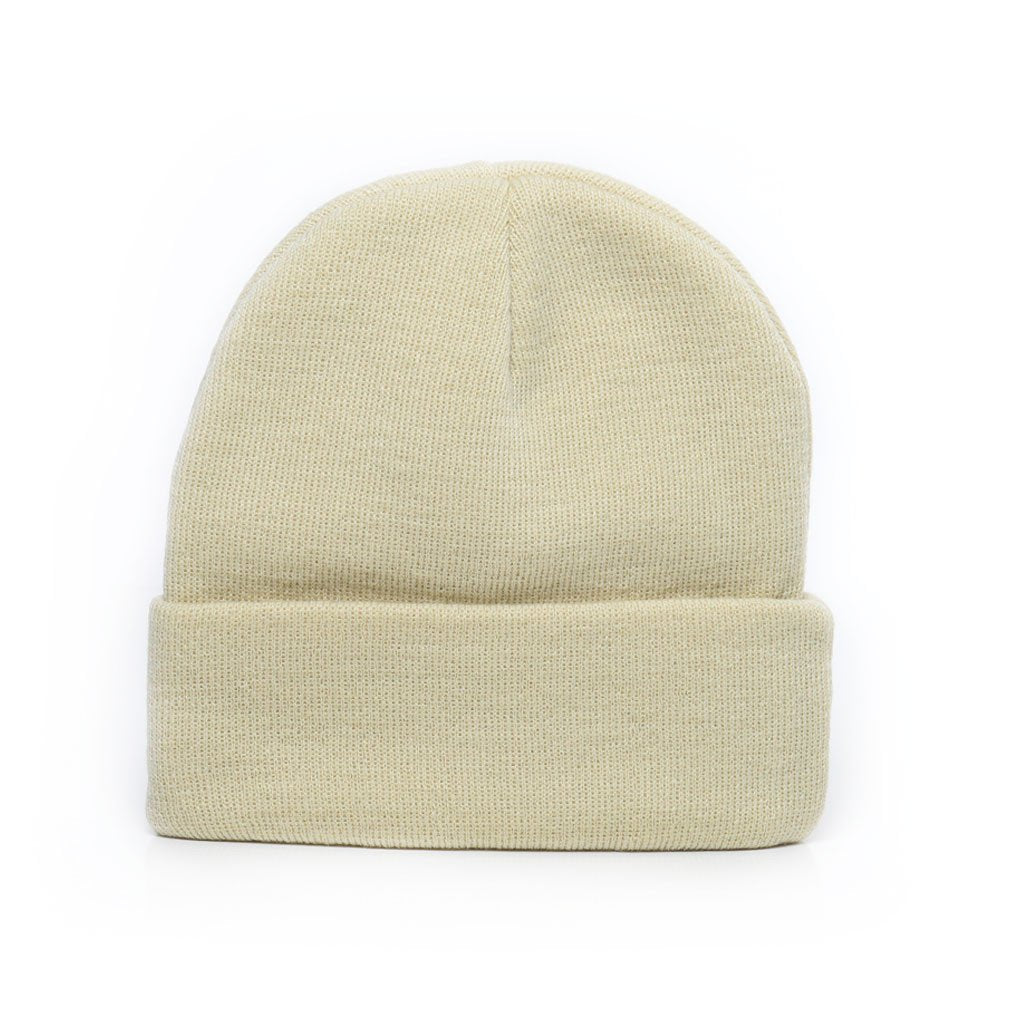 delusion mfg tan acrylic rib-knit beanie hat high quality low minimum headwearhut.com