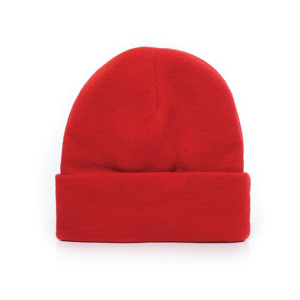 delusion mfg varsity red acrylic rib-knit beanie hat high quality low minimum headwearhut.com