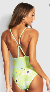 Seafolly On Vacay Lime Ring Front Maillot