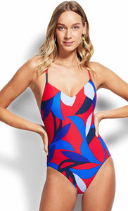 Seafolly Aloha V Neck Chilli