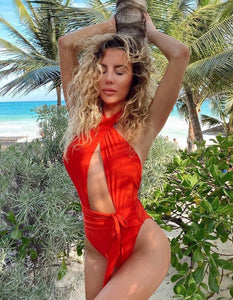 Alex Coral Red Wrap One Piece