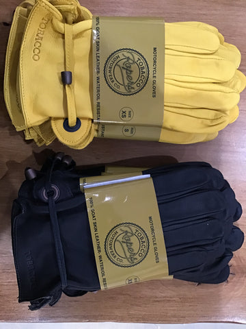 Tobacco Ropers Goat Skin Leather Gloves - Yellow/Black - Dirtbag Shop