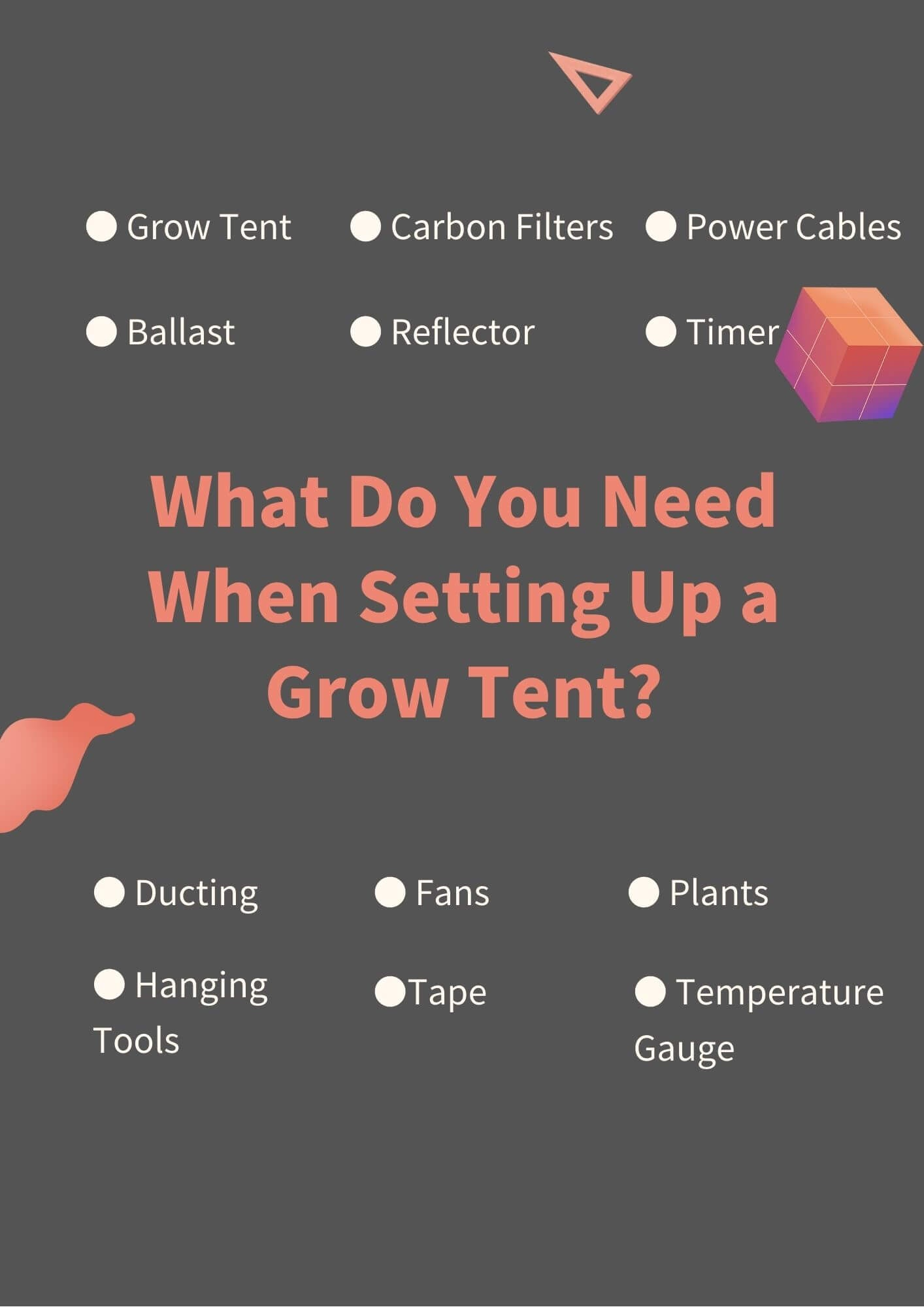 what do you need when setting up a grow tent