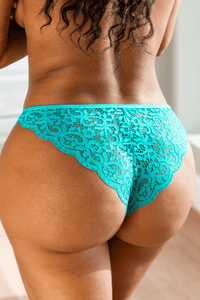 Teal Floral Lace Cheeky Briefs
