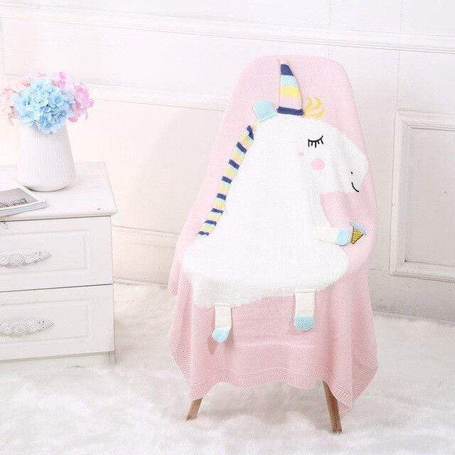 Accessories Pink Adorable Unicorn Knit Blanket