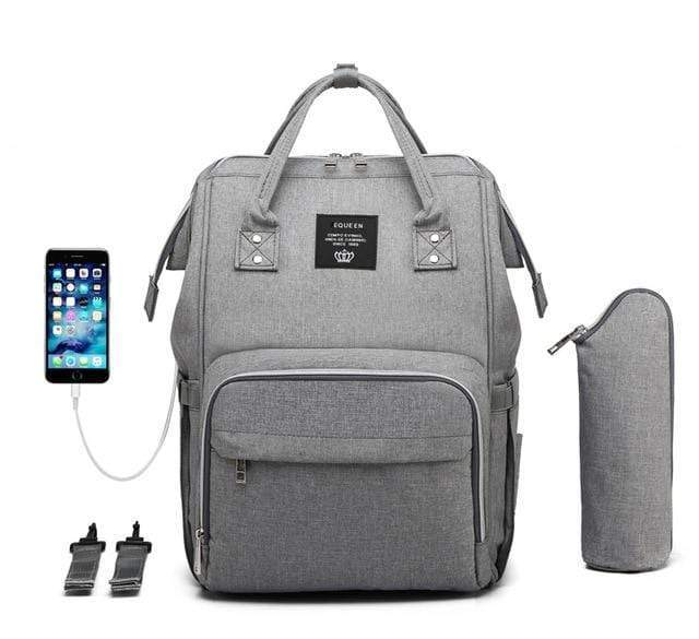Diaper Bag Gray USB All-In-One Diaper Bag with USB Port
