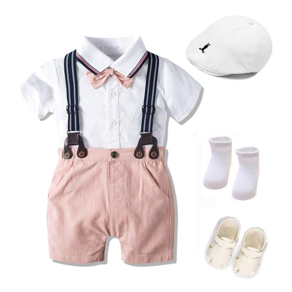 Boy's Clothing Hat + Rompers + Shorts + Belt + Shoes + Socks Outfit