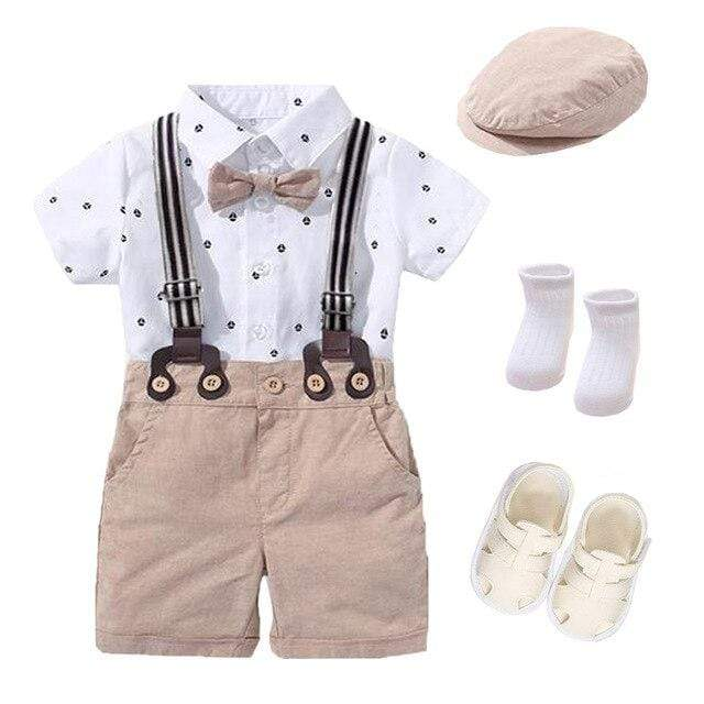 Accessories 7 PCS romper set / 24M / China Bow Outfit Hat + Rompers