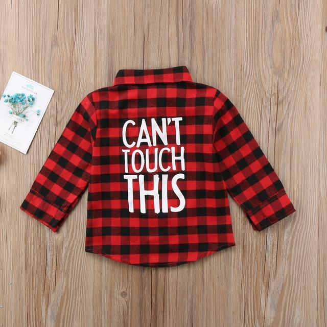 Red / 5T 2019 New Toddler Kids Baby Boys Printed Plaid Shirt Long Sleeve New Fashion Back Letter Printed Children Clothes 1-7T