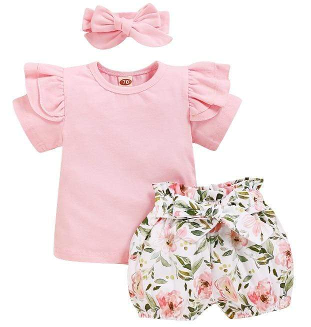 Girl's Clothing Floral Outfit Short Sleeve
