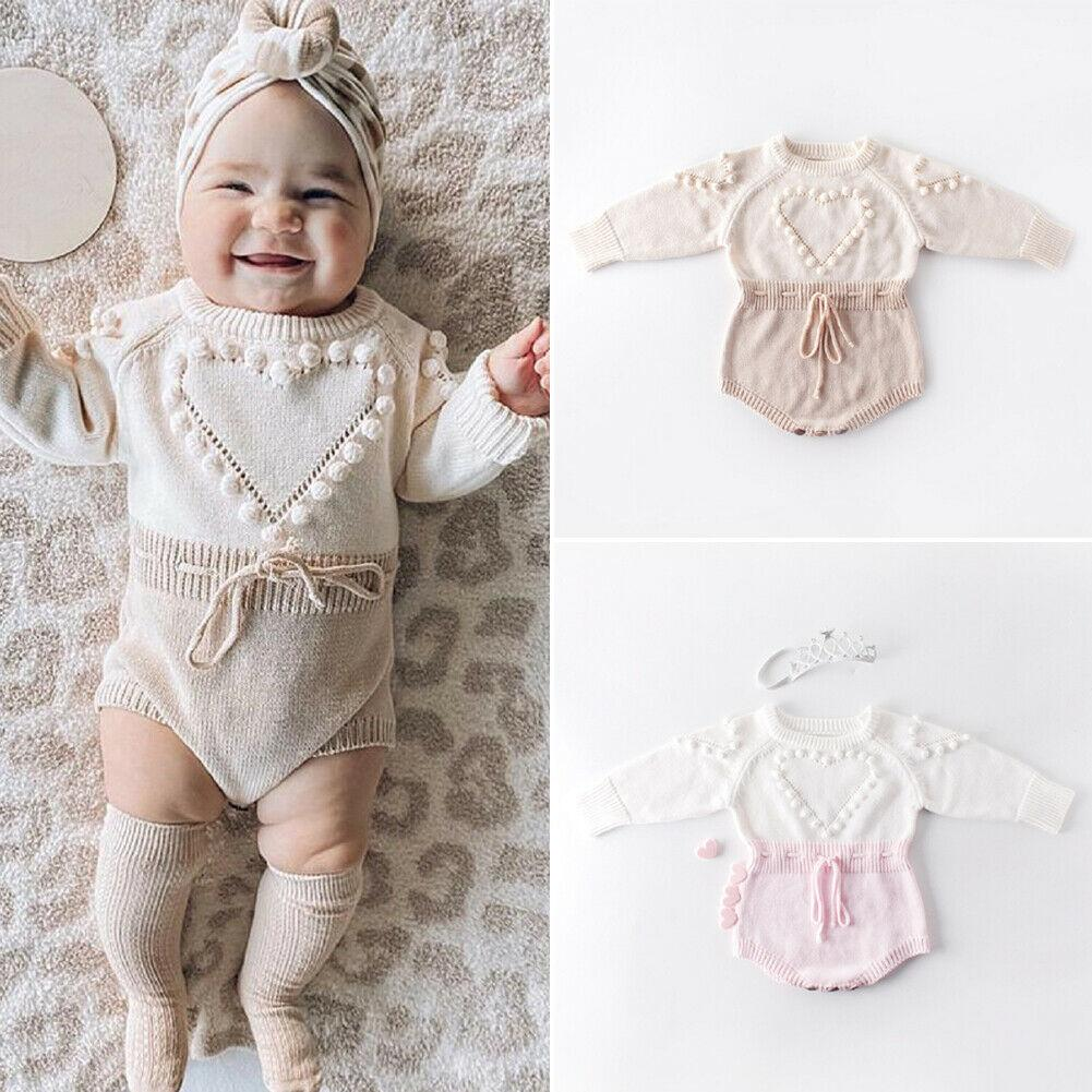 Girl's Clothing Lovely Heart Knitted Rompers