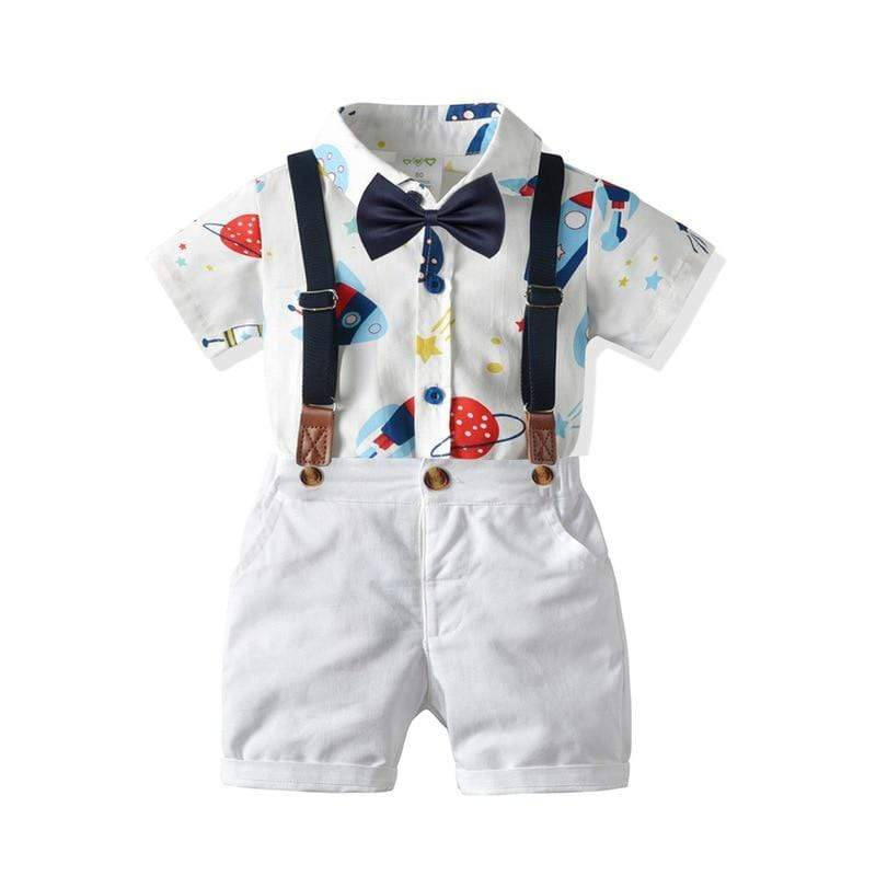 Boy's Clothing Space Print Romper Outfit