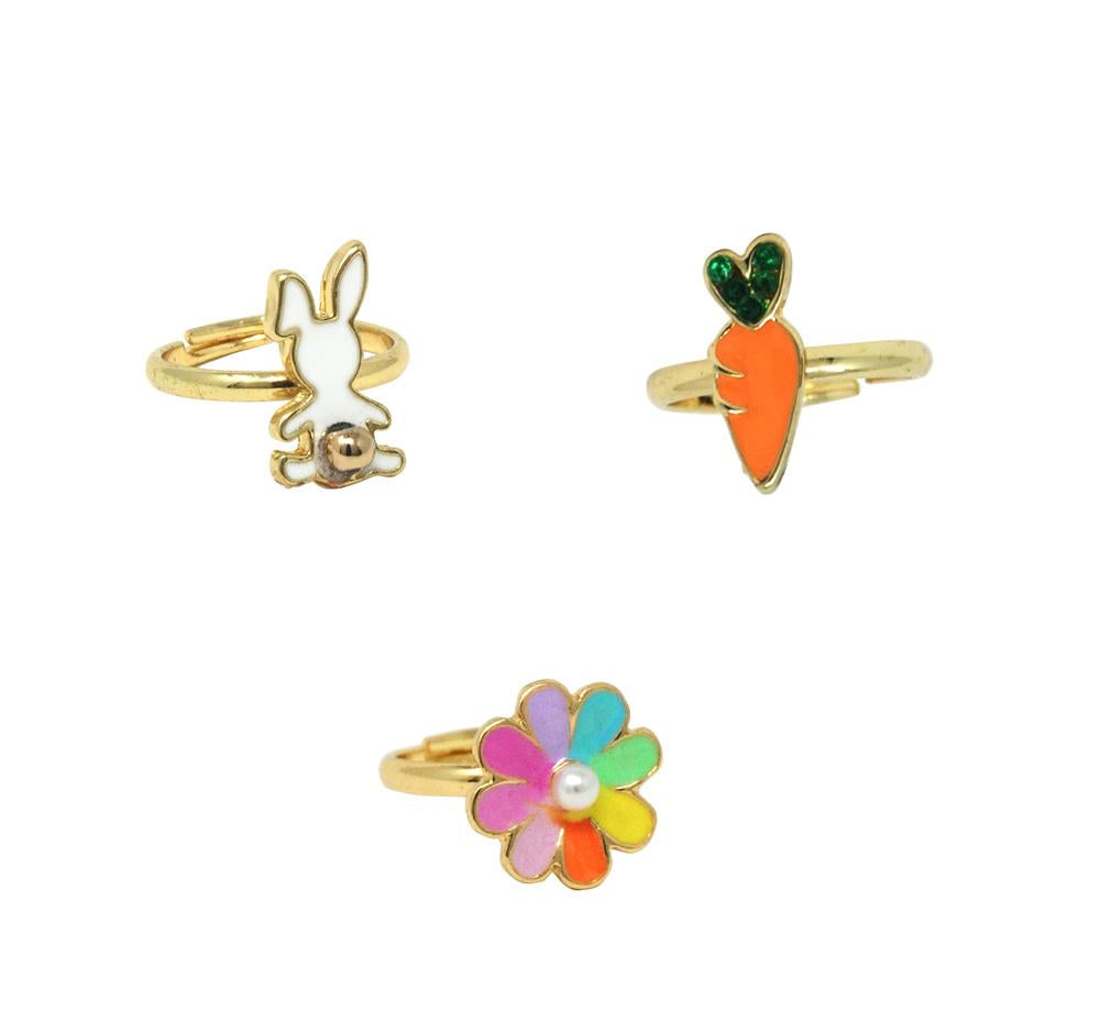 Bunny garden adjustable ring set of 3 - Pink Poppy