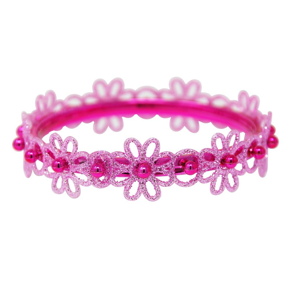 Glitter Flower Bangle V2 - Pink Poppy