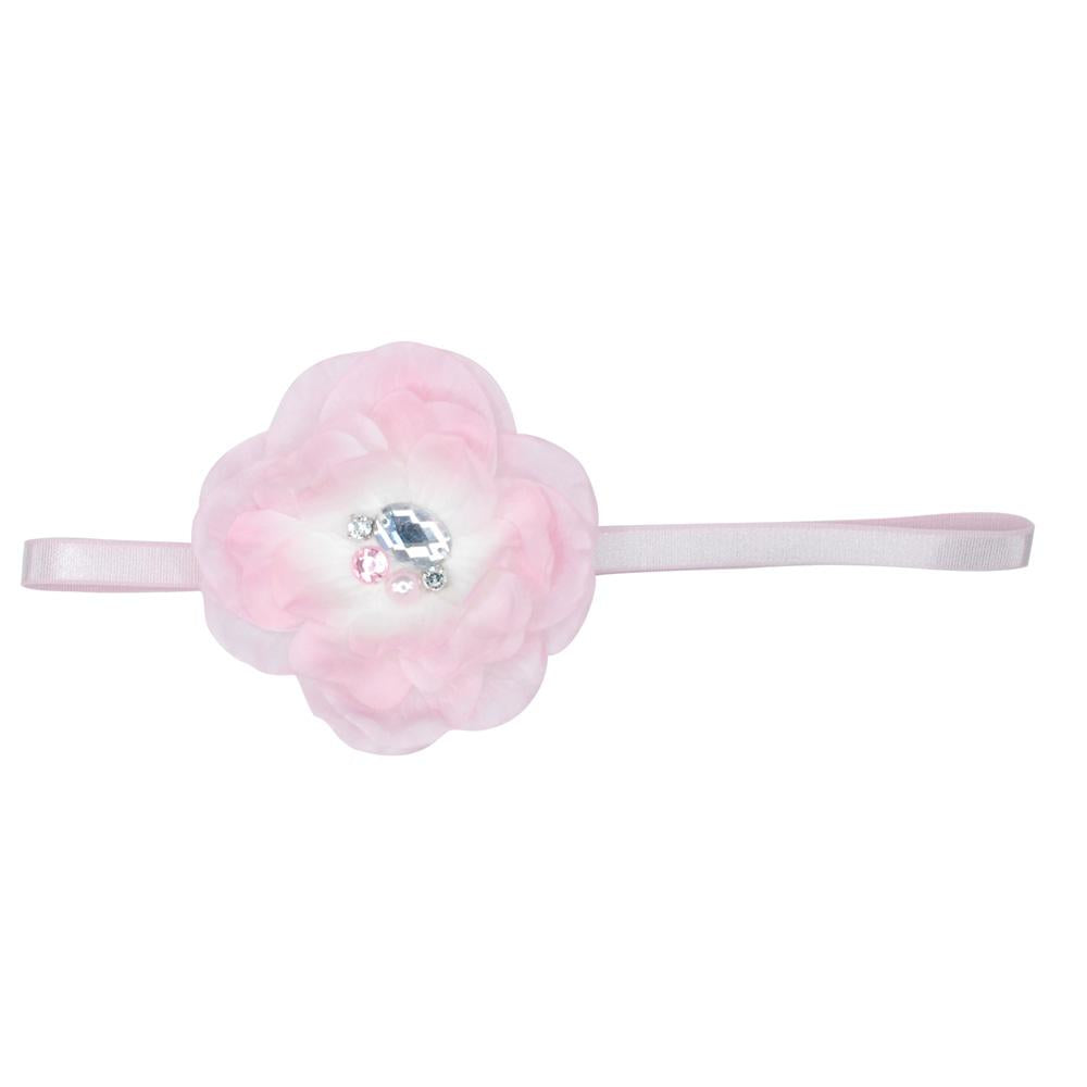 Large Peony Flower Headband With Gems - Pink Poppy