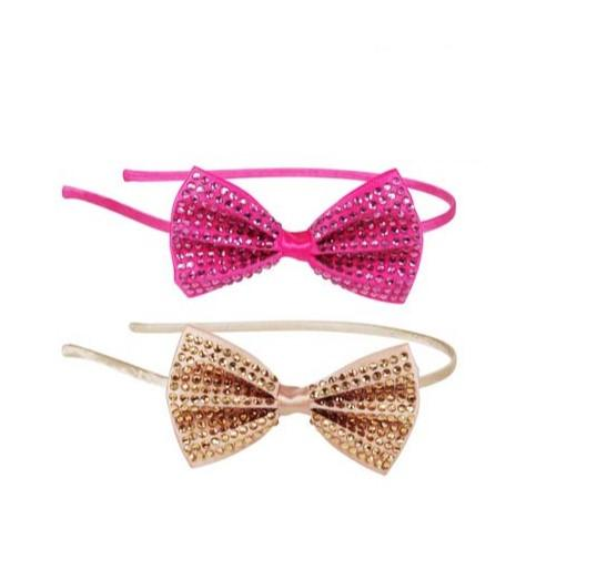 Glamour Bow Headband - Pink Poppy