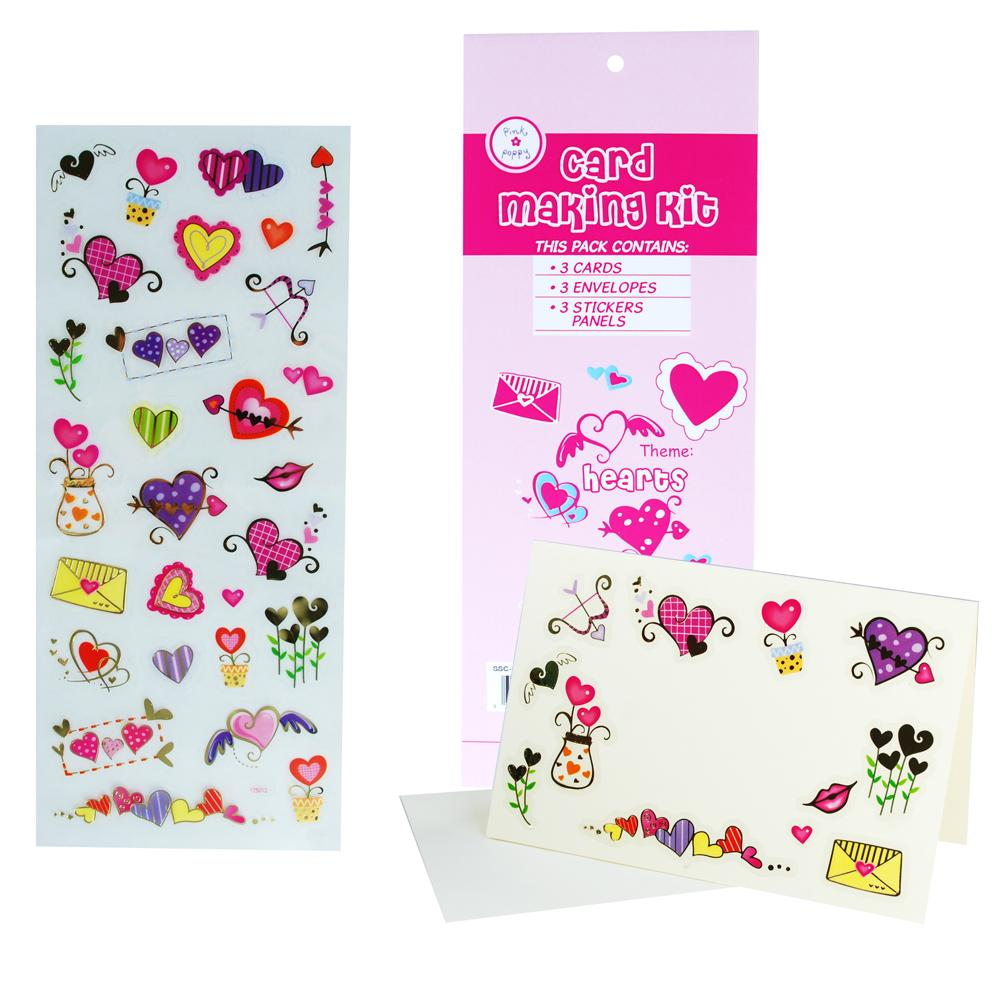 Card Making Kit - Hearts - Pink Poppy