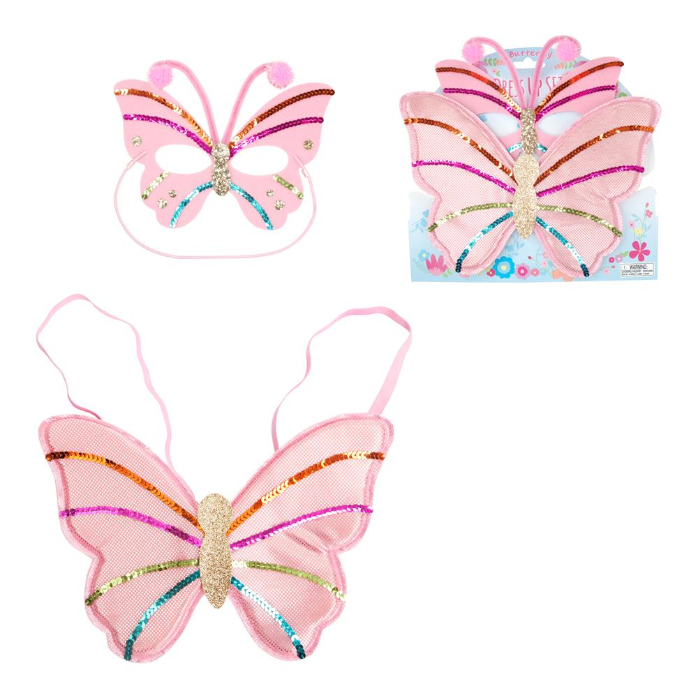 The Little Butterfly Mask & Wing Set - Pink Poppy