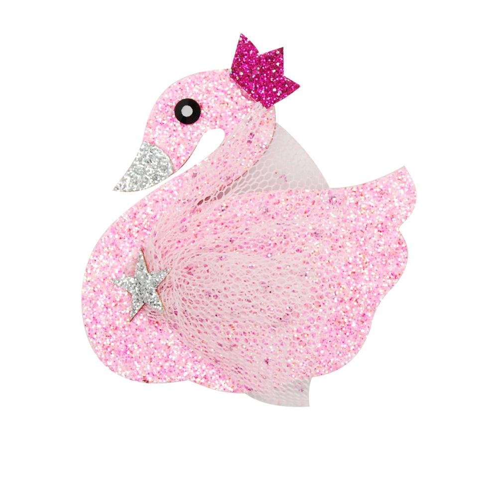 Swan Princess Glitter Hairclip - Pink Poppy